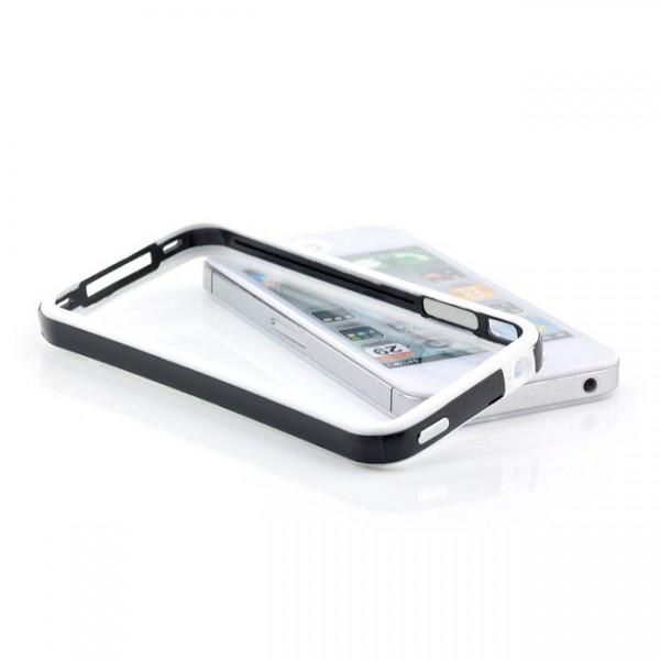 TPU & Silikon Bumper für Apple iPhone 4 & 4S Weiß-Schwarz