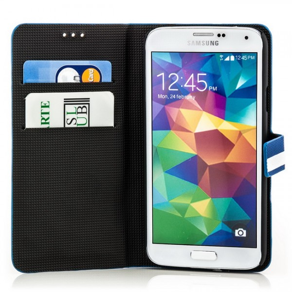 Slim Striped Case für Samsung Galaxy S5 Blau-Weiß