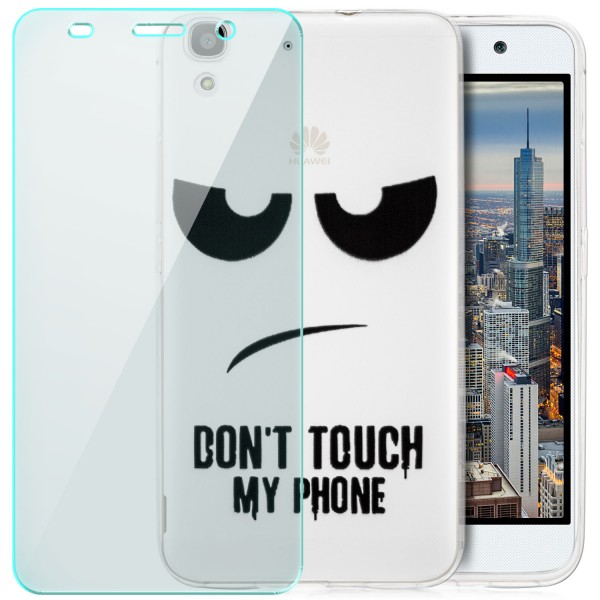Silikon Motiv Case für Huawei Y6 - Dont Touch my Phone 2 + GLAS