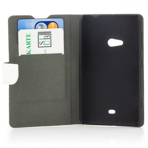 Holz Optik Tasche für Nokia Lumia 625 Weiß