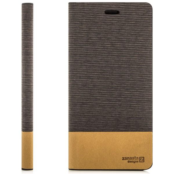 Denim Klapptasche für Sony Xperia M4 - Braun