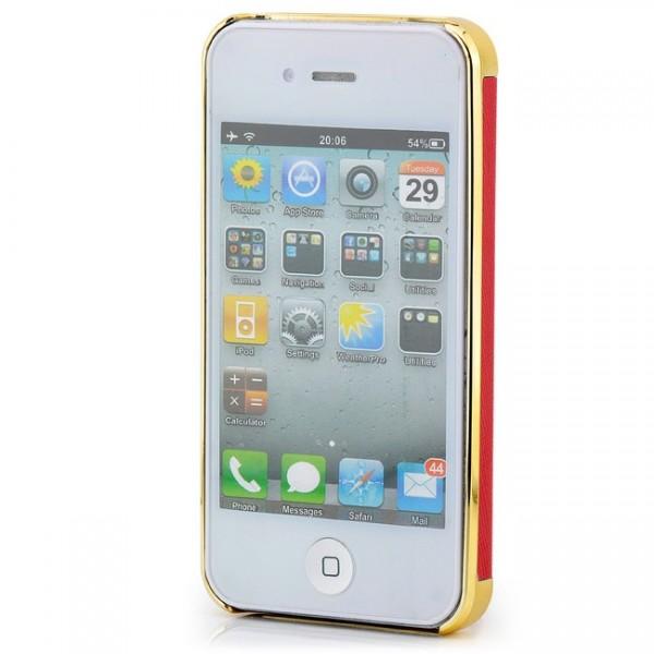 Smooth Skin Case für Apple iPhone 4 & 4S Gold-Rot