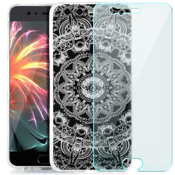 Silikon Motiv Case für Huawei P10 - Ornamente + GLAS