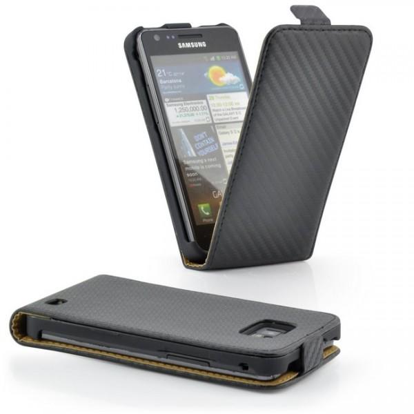 Carbon-Look Magnettasche für Samsung Galaxy S2 Schwarz
