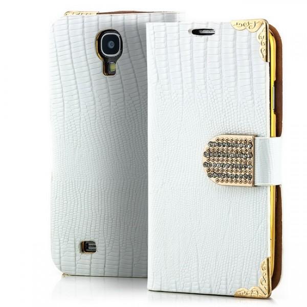 Lizard-Skin Strass Case für Samsung Galaxy S4 Weiß