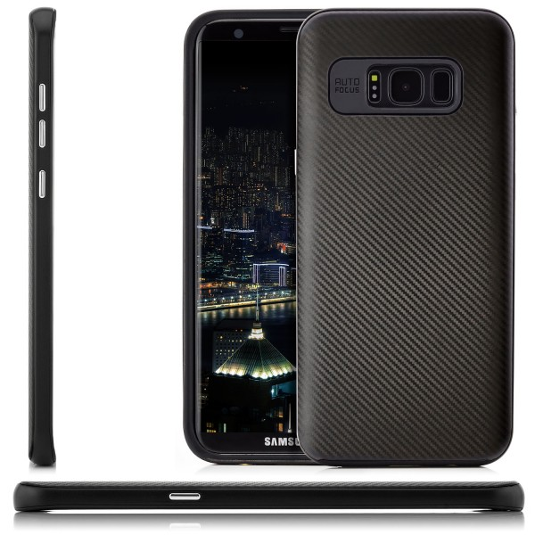 Carbon Style Back Cover für Samsung Galaxy S8 Plus - Schwarz