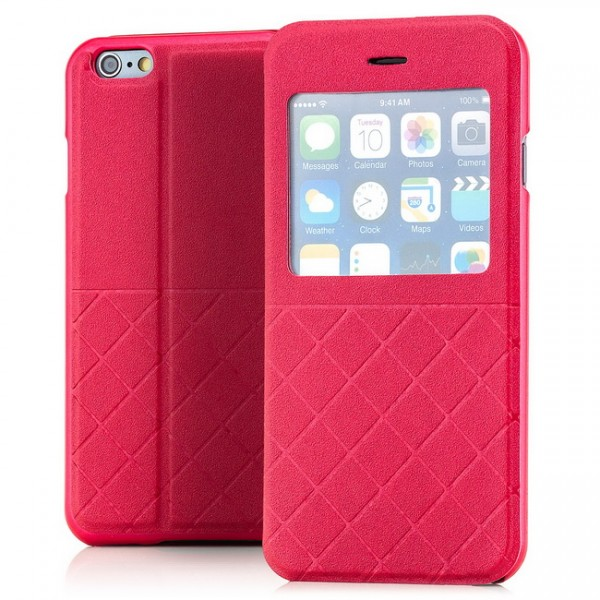 Grid Flip View Case für Apple iPhone 6 & 6S (4,7) Rot -MF-