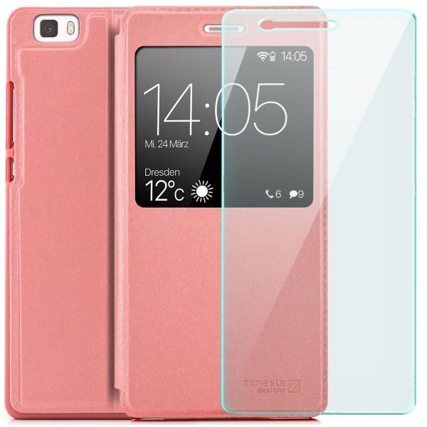 Kunstleder View Case für Huawei P8 Lite (2015) - Rosa + Glas