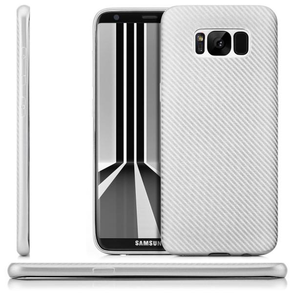 Silikon Metallic Carbon Case für Samsung Galaxy S8 Plus - Silber