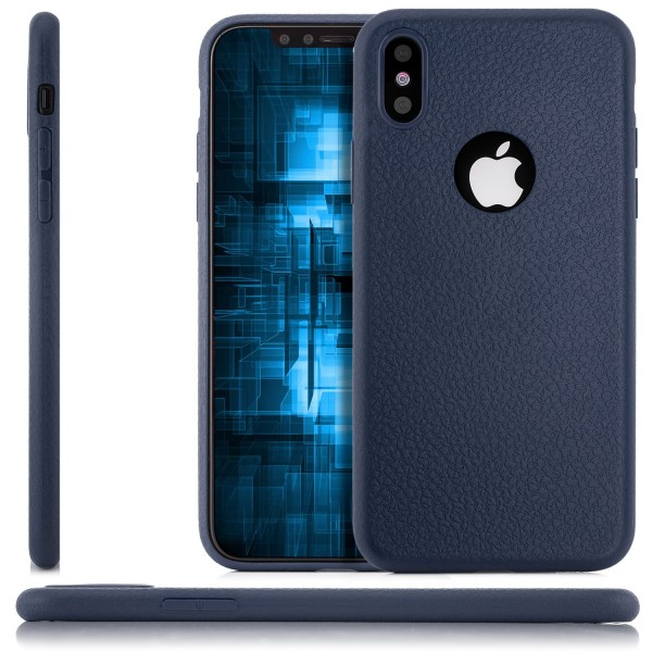 Silikon Leder Back Cover für Apple iPhone X - Blau
