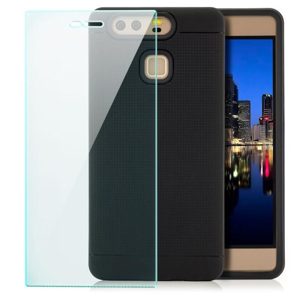 AR-Silikon Back Cover für Huawei P9 - Schwarz-Dunkelblau + GLAS