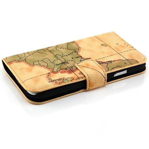 Weltkarte Tasche für Samsung Galaxy S4 Braun