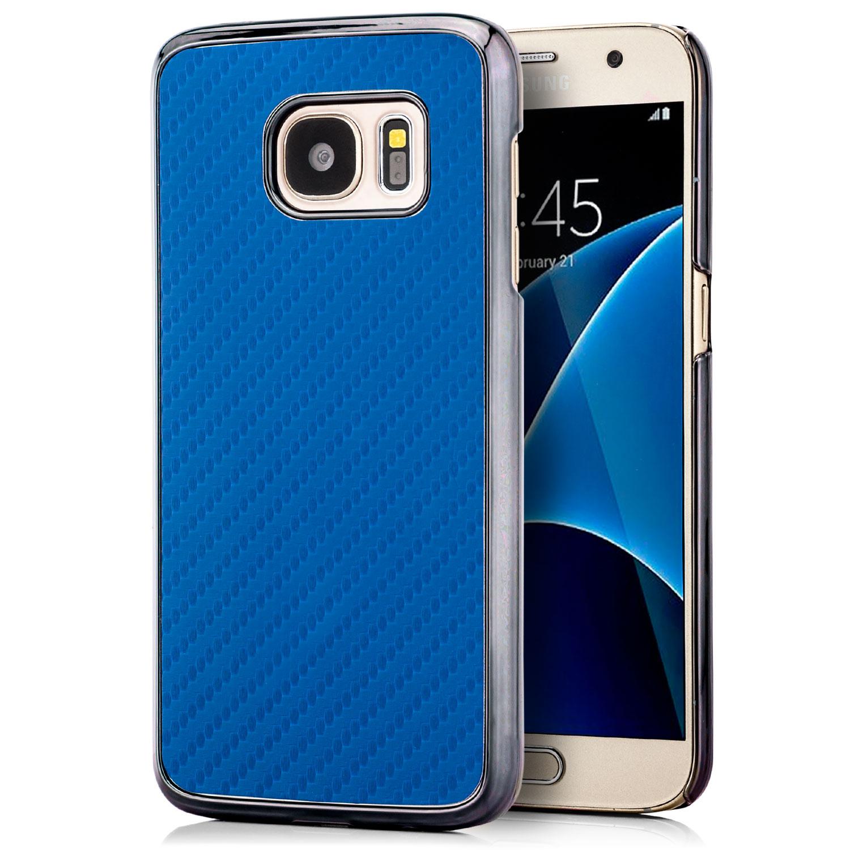 Carbon Back Cover für Samsung Galaxy S7 Blau Galaxy S7 Samsung Handyhüllen