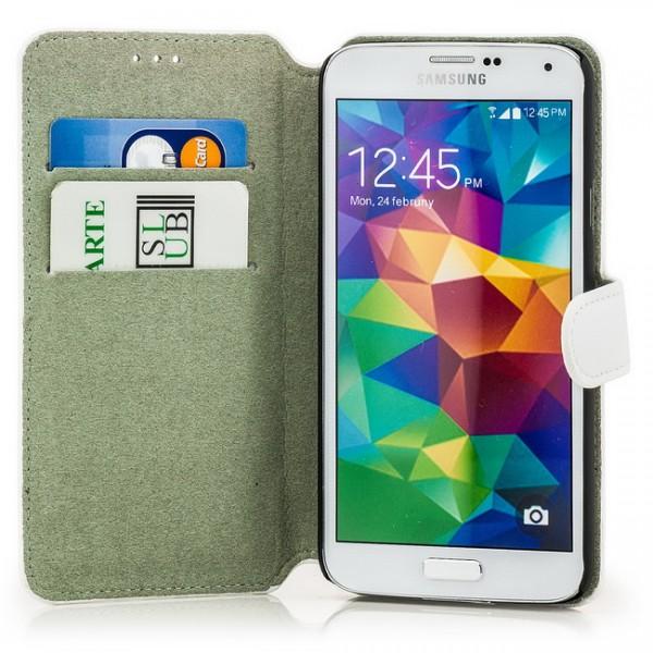 Slim Business Tasche für Samsung Galaxy S5 Weiß