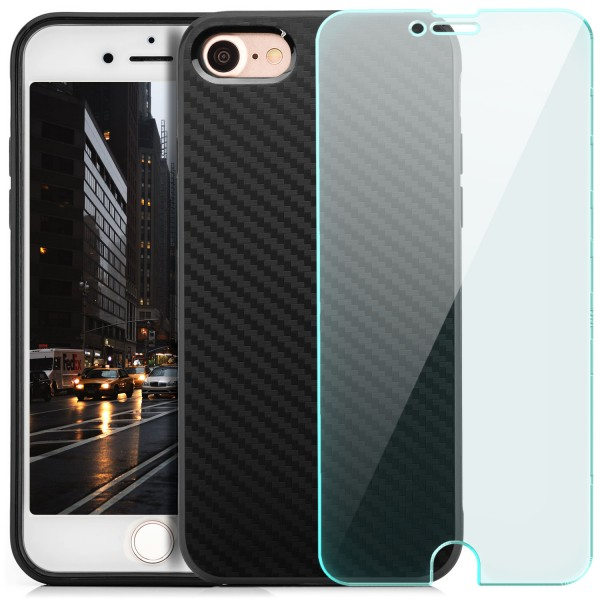"Silikon Carbon Back Cover für Apple iPhone 8 / 7 (4,7"") - Schwarz + GLAS"