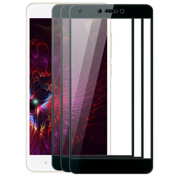 3x Full Cover Displayschutzglas für Xiaomi Redmi Note 4 / 4X - Schwarz