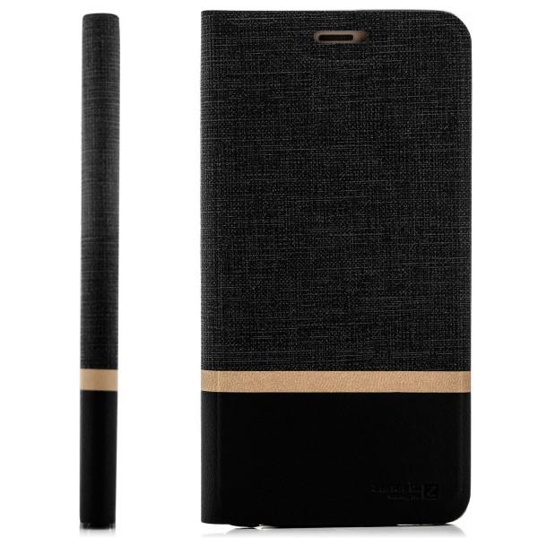Kunstleder Streifen Tasche für Huawei P30 - Schwarz