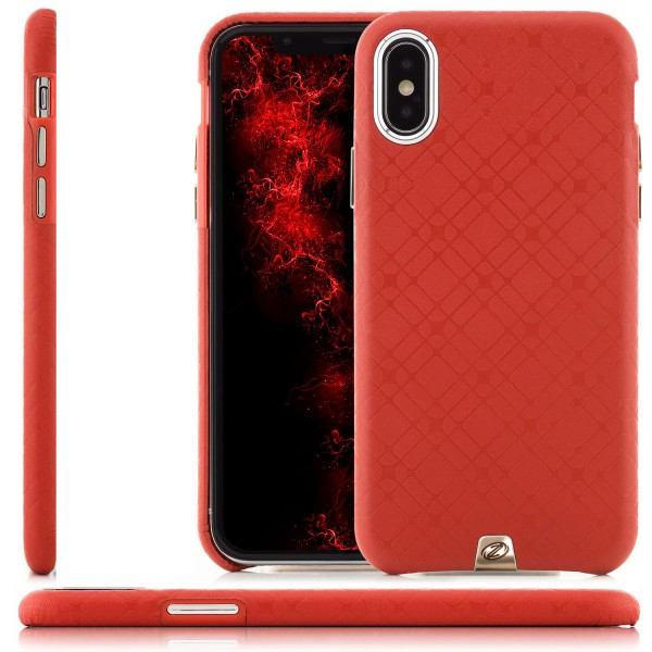Zanasta Leather Check Pattern Back Cover für iPhone X - Rot