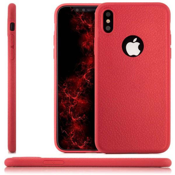 Silikon Leder Back Cover für Apple iPhone X - Rot
