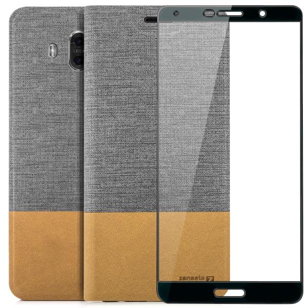Kunstleder Slim Tasche für Huawei Mate 10 - Grau + FC Glas S