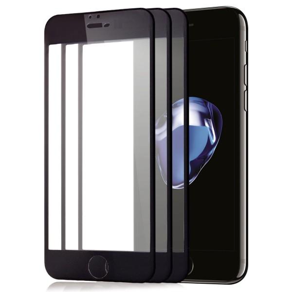 """3x Full Cover Displayschutzglas für Apple iPhone 8 Plus (5,5"""") - Schwarz"""