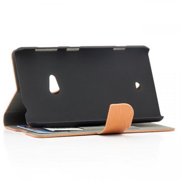 Holz Optik Tasche für Nokia Lumia 625 Braun