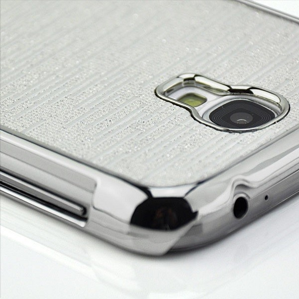 Glitzer Streifen Case für Samsung Galaxy S4 Silber
