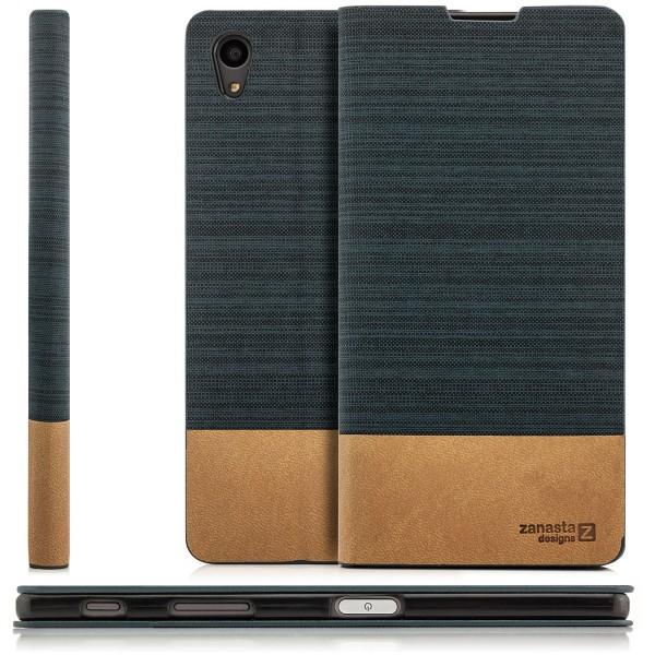 Kunstleder Denim Tasche für Sony Xperia Z5 - Dunkelgrau