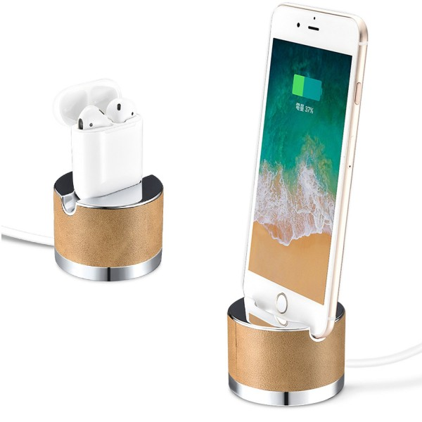 Zanasta Echtleder iPhone Docking Station Handy Halterung Ständer - Braun