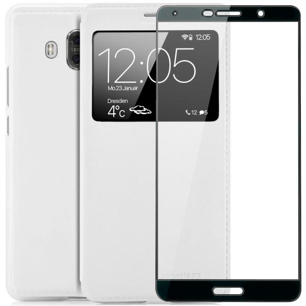 Kunstleder View Case für Huawei Mate 10 - Weiß + FC Glas S