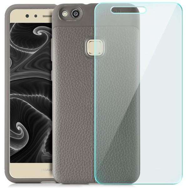 Litchi Soft Back Cover für Huawei P10 Lite - Grau + GLAS