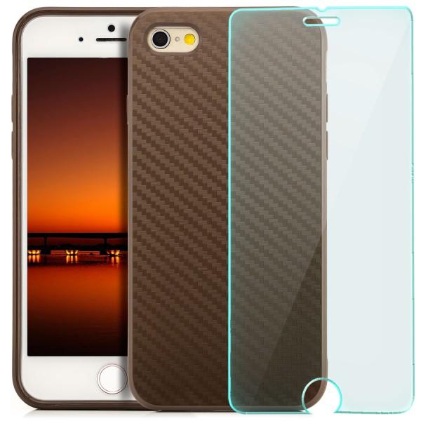 "Silikon Carbon Back Cover für Apple iPhone 6 / 6S (4,7"") - Braun + GLAS"