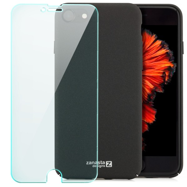 "Simple Hard Back Cover für Apple iPhone 8 / 7 (4,7"") - Schwarz + GLAS"