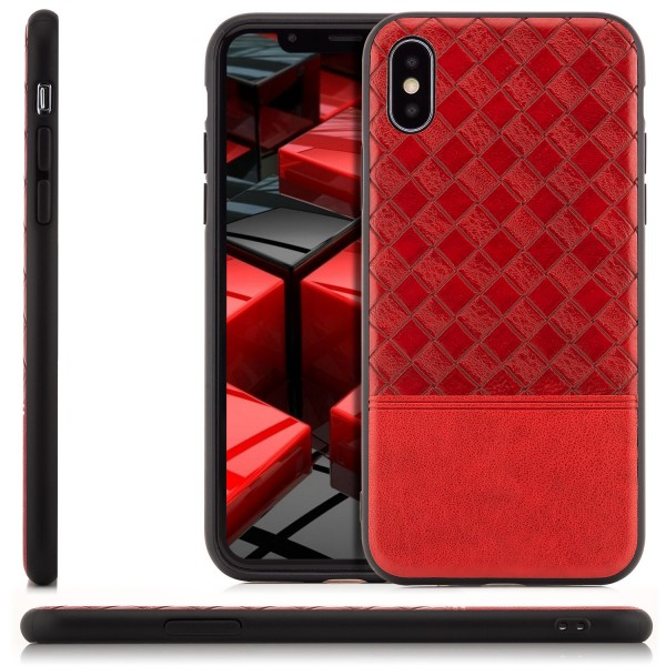 Leder Style Back Cover für iPhone X - Rot