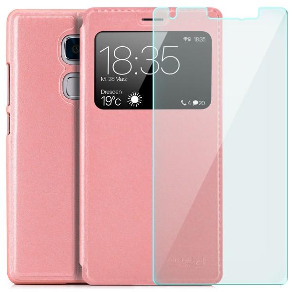 Kunstleder View Case für Huawei Mate S - Rosa + Glas