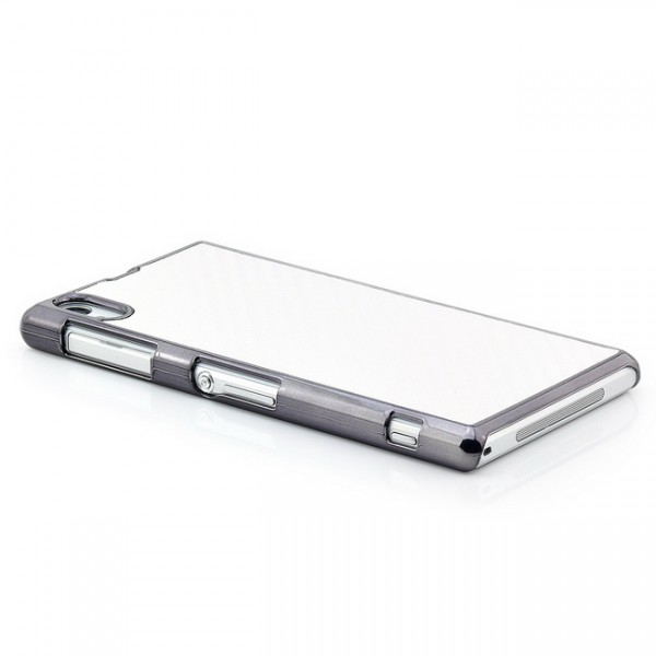 Carbon-Look Back Cover für Sony Xperia Z1 Weiß