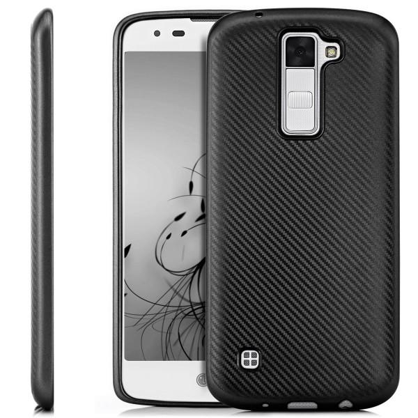 Silikon Metallic Carbon Hülle für LG K8 (2016) - Schwarz