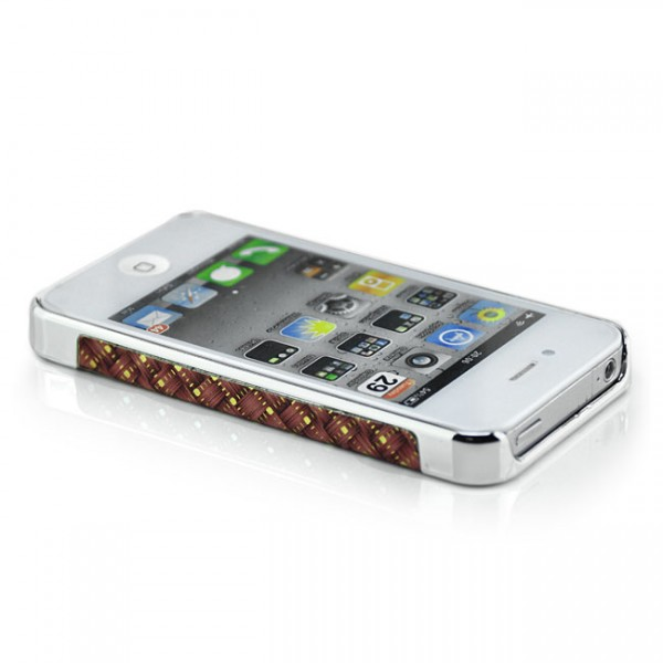 Braided-Look Hard Case für Apple iPhone 4 & 4S Rot-Silber