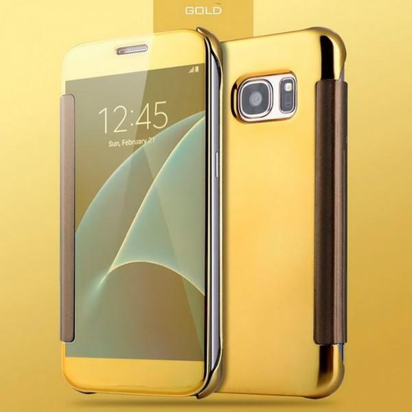 Transparent Flip Case für Samsung Galaxy S7 Edge - Gold