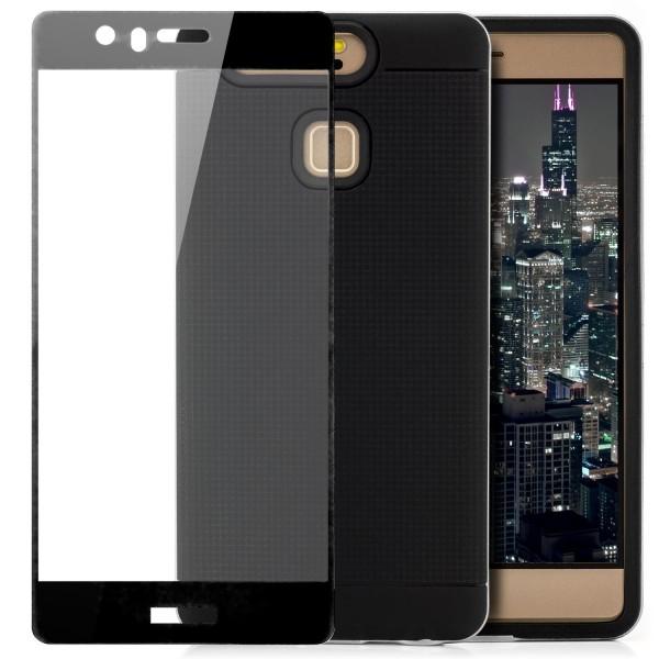 AR-Silikon Back Cover für Huawei P9 - Schwarz-Silber + FC Glas S