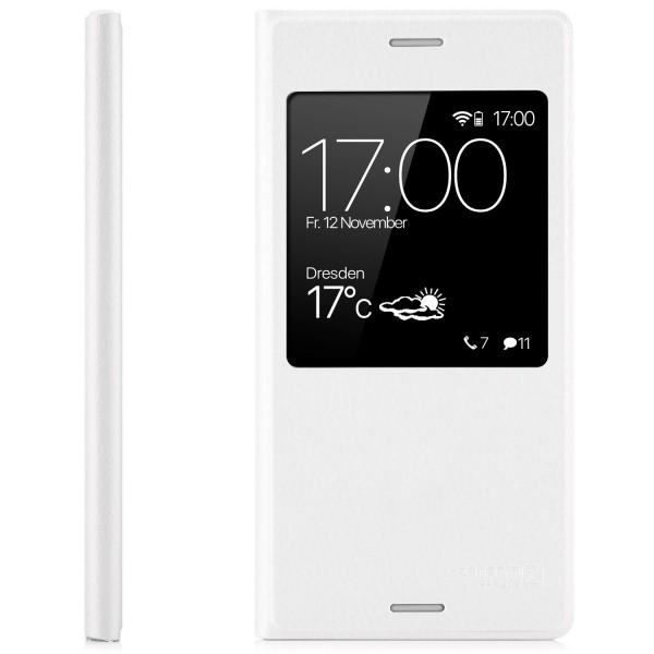 Kunstleder View Case für Sony Xperia XZ1 Compact - Weiß