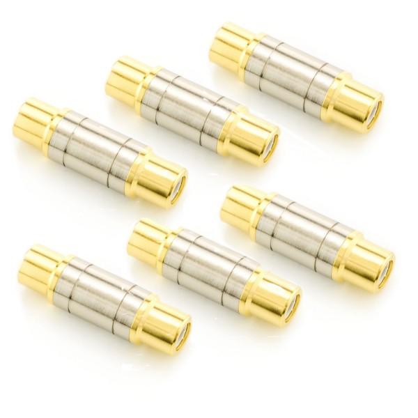 6x Cinch Verbinder (weiblich)- Gold-Silber