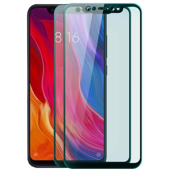 2x Full Cover Displayschutzglas für Xiaomi Mi 8 - Schwarz