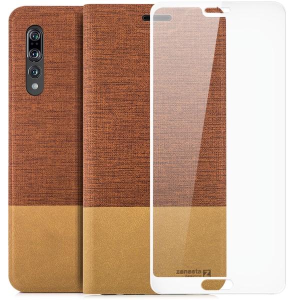 Kunstleder Slim Tasche für Huawei P20 Pro - Rotbraun + FC Glas W