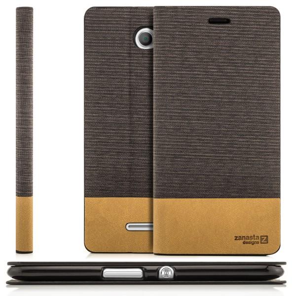 Kunstleder Flip Tasche für Sony Xperia E4 - Braun