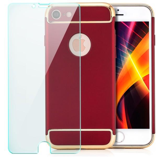 "Aluminium Style Back Cover für Apple iPhone 8 / 7 (4,7"") - Rot + GLAS"