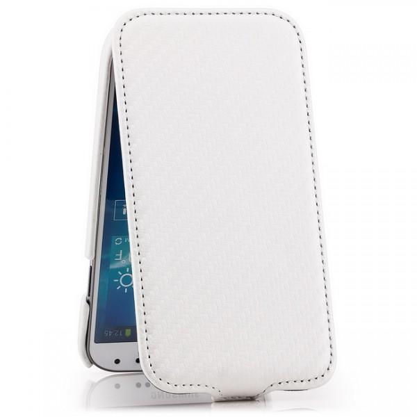 Carbon-Look Flip Case für Samsung Galaxy S4 Weiß