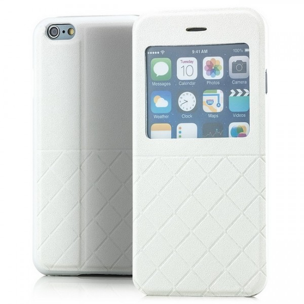 Grid Flip View Case für Apple iPhone 6 & 6S (4,7) Weiß -MF-