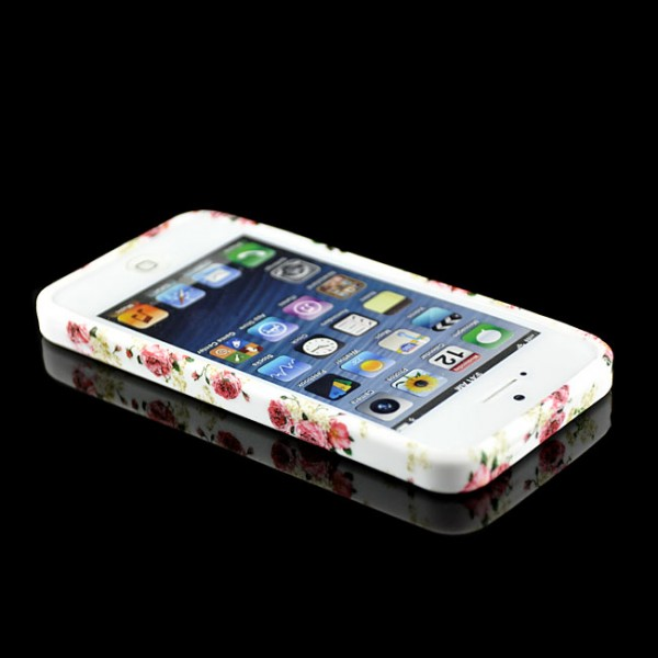 Blumen Silikon Case für Apple iPhone 5 & 5S Rosen-Rot