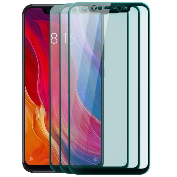3x Full Cover Displayschutzglas für Xiaomi Mi 8 - Schwarz